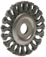 Wheel brush with centre hole - knotted wire